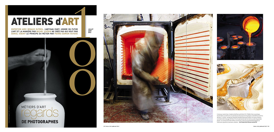 Selection and issue in french fine art magazine ATELIERS D'ART - France
