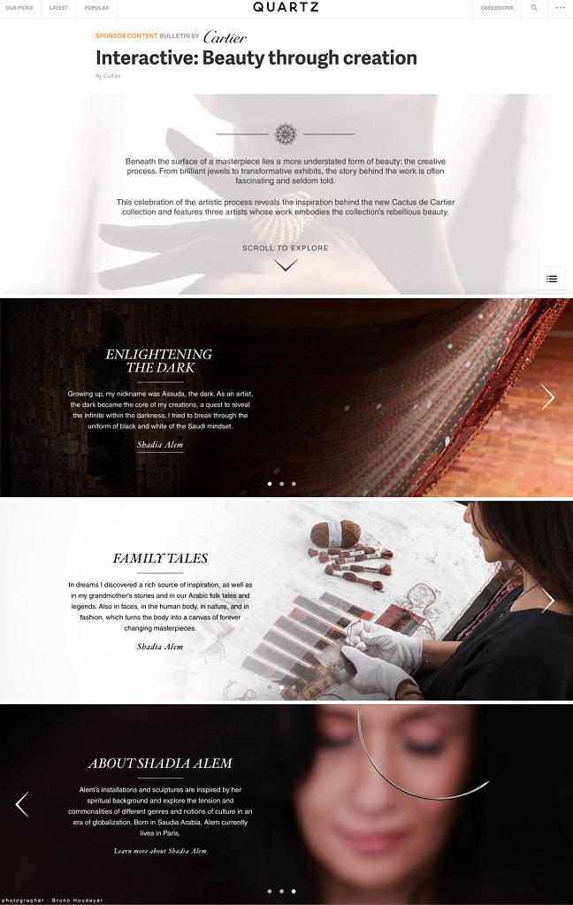 Quartz Magazine // Cartier Sponsor
